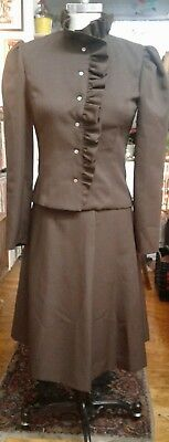 Vintage Home Made Skirt Suit Set with Yves Saint Laurent Logo Satin Fabric