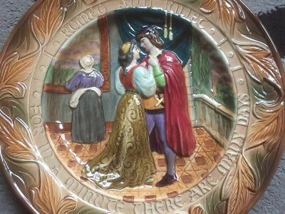 VINTAGE BESWICK Shakespeare Large Relief Plate / Charger - Romeo and Juliet