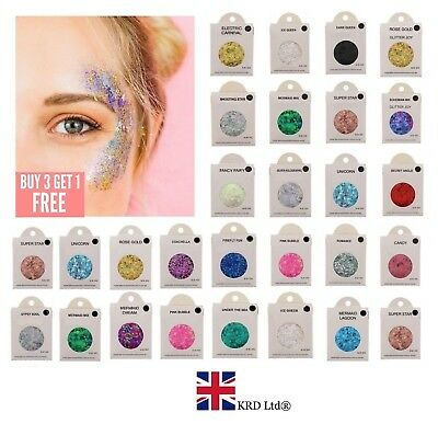 FACE & BODY GLITTER Craft Acrylic Hair Holographic Chunky 5g Glue FIX GEL NEW UK