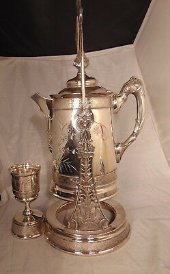 Victorian Hartford Silver Plate Tilting Water Pitcher Goblet Aesthetic Movement