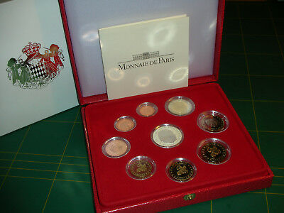 KMS Monaco 2004 PP Proof 1 Cent bis 2 Euro plus 5 Euro Silber