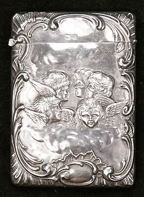 Antique Edwardian Sterling Silver Card Case Henry Williamson 1902 Angels Cherubs