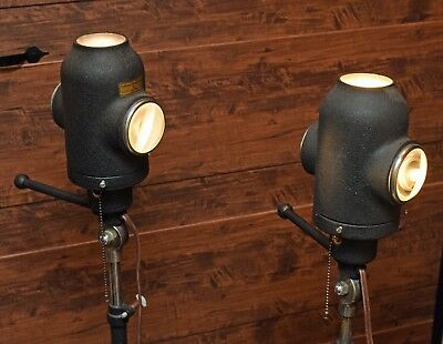 Pair Antique EXAMINATION SPOT LIGHTS American Optical Floor Lamps Steampunk noRs