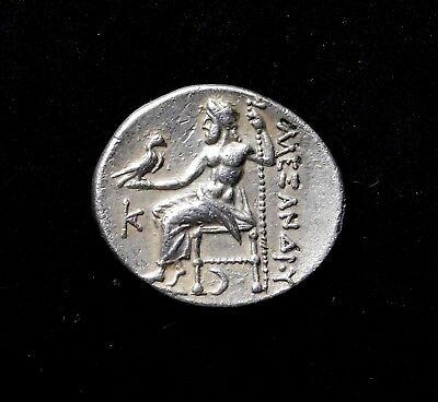 Alexander the Great. Drachm. Crescent below Throne. Ancient Greek Silver Coin.