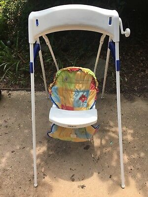 Vintage Graco Baby Swing Crank Wind Up Speed Control Time Watcher Colorful