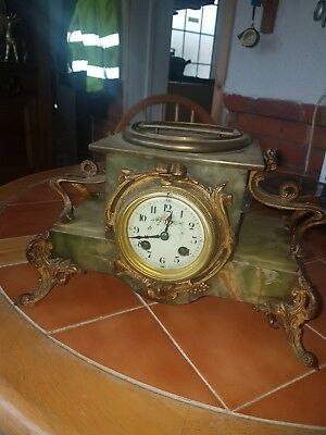 Antique French 1900 green onyx marble Clock Samuel Marth
