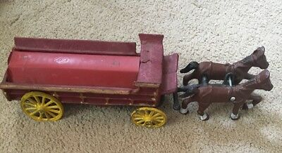 Vintage Cast Iron Tin Horse Drawn Wagon Cart Toy