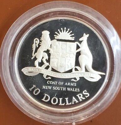 1987 Australia $10 Ten Dollar Coat Of Arms New South Wales Silver Coin