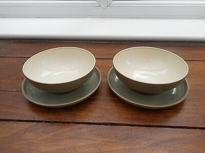 """Pair Of Denby """"camelot """"5.75"""" Diam Soup/cereal Bowls And Their Matching Saucers"""