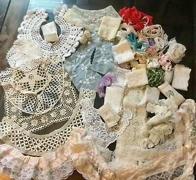 Lot of Antique Vintage Lace Doilies Collars Trim Sewing Crafting Tatting