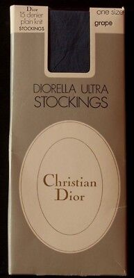 Vintage Christian Dior Diorella Ultra Stockings One Size Colour Grape 15 Denier