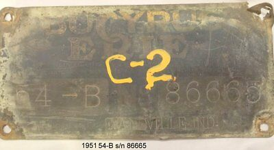 Bucyrus Erie Brass Crawler Crane Serial number plates