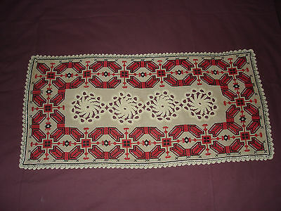 #052  Beautiful Vintage Hand-Embroidered Table Runner 29''/14''(73cm/37cm)