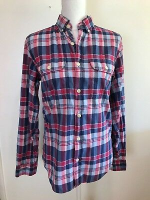 J Crew Womens Madras Shirt Long Sleeve Button Down Red Blue Plaid 100% Cotton XS