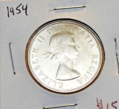 1954 Canada Silver 50 Fifty Cents In Brilliant Uncirculated Condition