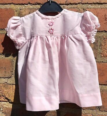 Vintage Baby Smock / Dress Pink With Daisies 3-6m Mothercare