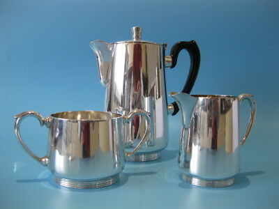 Beautiful Antique Silver Plated Art Deco Style Coffee Pot With Cream & Suger Set