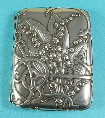 Art Nouveau Sterling Silver Cigarette Case Leaves Lily of the Valley Flower 1905