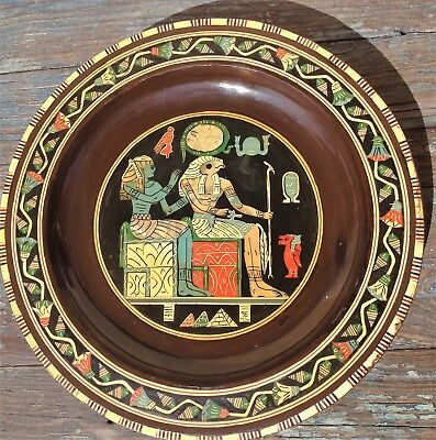 Egyptian Horus /ra Sun God Decorative Wood Plate, W/ Mother Of Pearl Marquetry