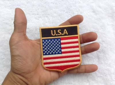 American Flag Star Sign Sew Iron On Patches Embroidered Patch Gold Border Usa