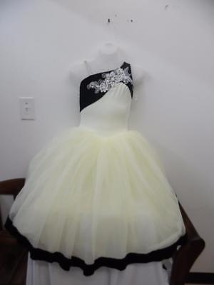 Dance Costume M L Child Ivory Black Tulle Tutu Ballet Pointe Competition TRIO