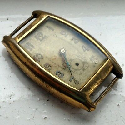 Beautiful Man's Antique Art Deco Gold Plated hand Wind Watch - REPAIRS