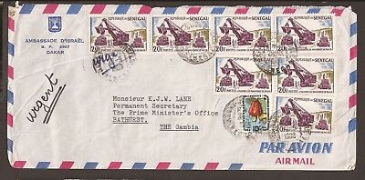 Senegal 1966-7. 1 Airmail cover & 1 cover front. Israel Ambassador to PM office