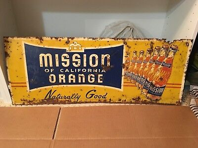 Mission Orange 7 Bottle Tin Embossed Sign Rare collectible 1950's Vintage