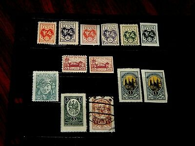 Central Lithuania stamps - 13 mint hinged and used early stamps - great group !!