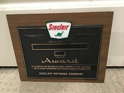 Sinclair Oil NOS Dealer Award Sign Vintage collectible 1960's Company USA