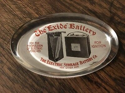 Exide Battery Paper Weight Rare Collectible Glass 1920's Philadelphia PA
