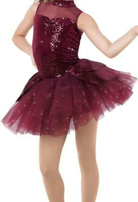 Dance Tutu 6x-7 Child IC Burgandy Glotter Ballet Tap Jazz Class Performance
