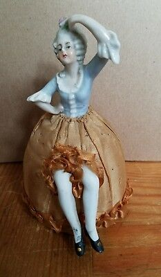 Vintage Bisque Pin Cushion Half Doll with Legs Germany