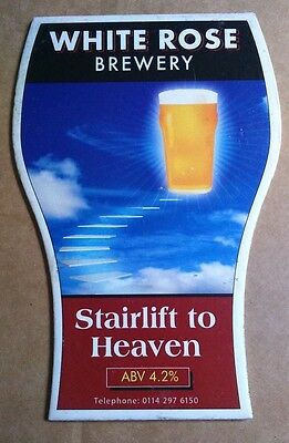 Beer pump badge clip WHITE ROSE brewery STAIRLIFT TO HEAVEN ale pumpclip front