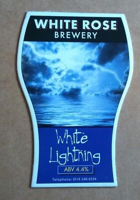 Beer pump clip badge front WHITE ROSE brewery WHITE LIGHTNING cask ale NEW yorks