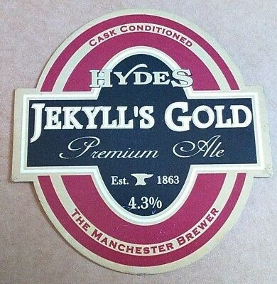 Beer pump clip badge front HYDES brewery JEKYLL'S GOLD cask ale Manchester