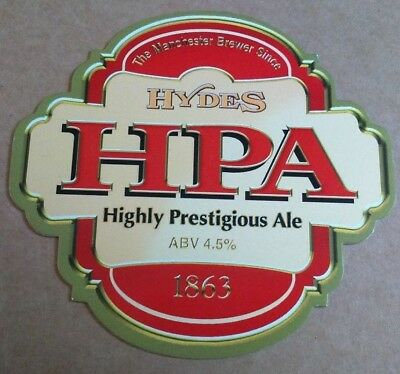 Beer pump clip badge front HYDES brewery HPA cask ale Manchester