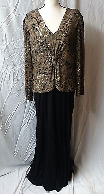 Alex Evenings Mother Of The Bride Formal Dress Long Sleeve Zippered Stretch S-18