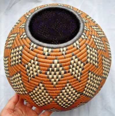 Vintage African Handmade Tight Weave Africa Tribal Art Woven LG Basket Container