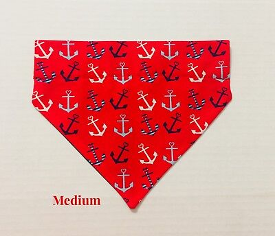 Nautical Anchors Red Blue Over Collar Slide On Pet Dog Cat Bandana Scarf