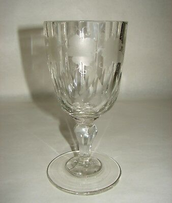 Antique Cut Glass Lead Crystal Water Goblet Engraved Grape and Leaves decor
