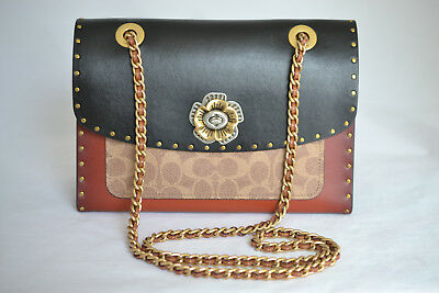 fedc278a4 Coach Parker With Border Rivets & Snakeskin Detail #29416 Black Retail $450