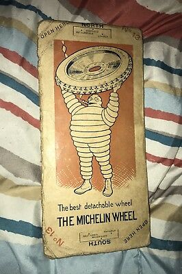 1920s Michelin Tyre British Isles Road Map - Gas Oil Tire Can Sign Pump