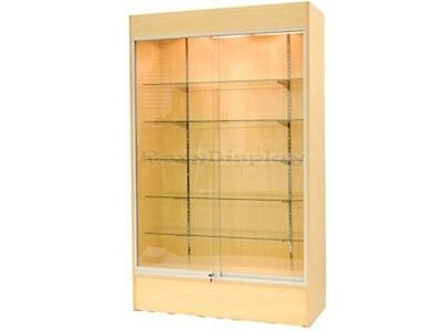 CA SALE! Wall Maple Display Show Case Retail W/Lights Knocked Down #WC4M-SC