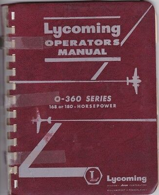 Lycoming Operators Manual O-360 Series 168 or 180 - Horsepower