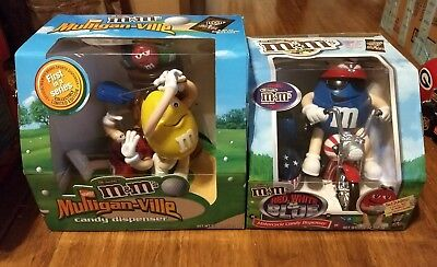 M&M's Mulligan-ville And Red White Blue Motorcycle Candy Dispensers Vintage