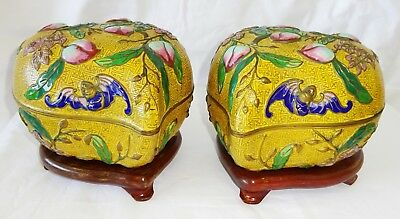 Pair 20C Chinese Lg Cloisonne Enamel Peach Shaped Covered Boxes on Stands (Wok)