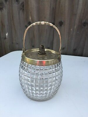 Antique Cut Glass Silver Plated Biscuit Boxes Diamond Pattern Compote On Hobstar