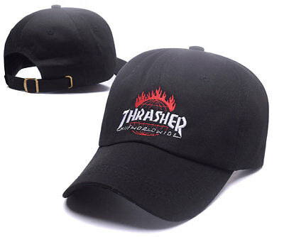 241d743ab0e Thrasher Hat Cap Fire Black Magazine Flames Adjustable Embroidered Logo New