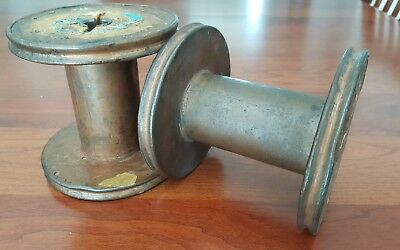 "2 Vintage Westinghouse Wood and Copper Coated Spool Spindle 4.5"" high"